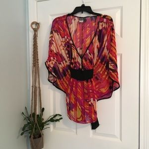 Tops - Butterfly Kimono Sleeve Top w Black Sash/Tie Waist